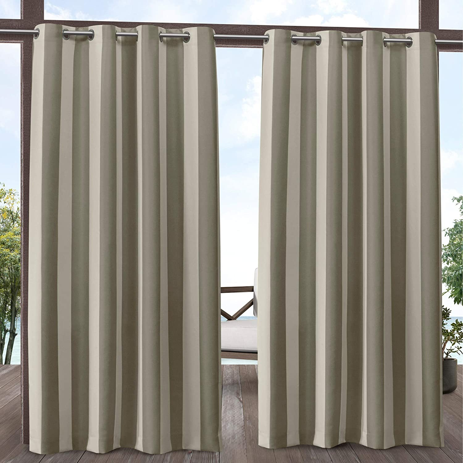 Exclusive Home Curtains Canopy Stripe Indoor/Outdoor Grommet Top Curtain Panel Pair, 54x96, Taupe/Sand