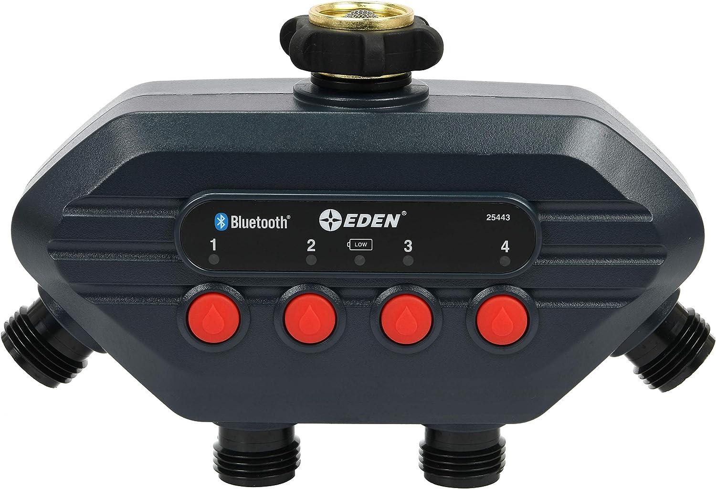 Eden 25443 Bluetooth Smart Water Hose Timer, 4- Zone, Compatible with Wireless Soil Moisture Sensor