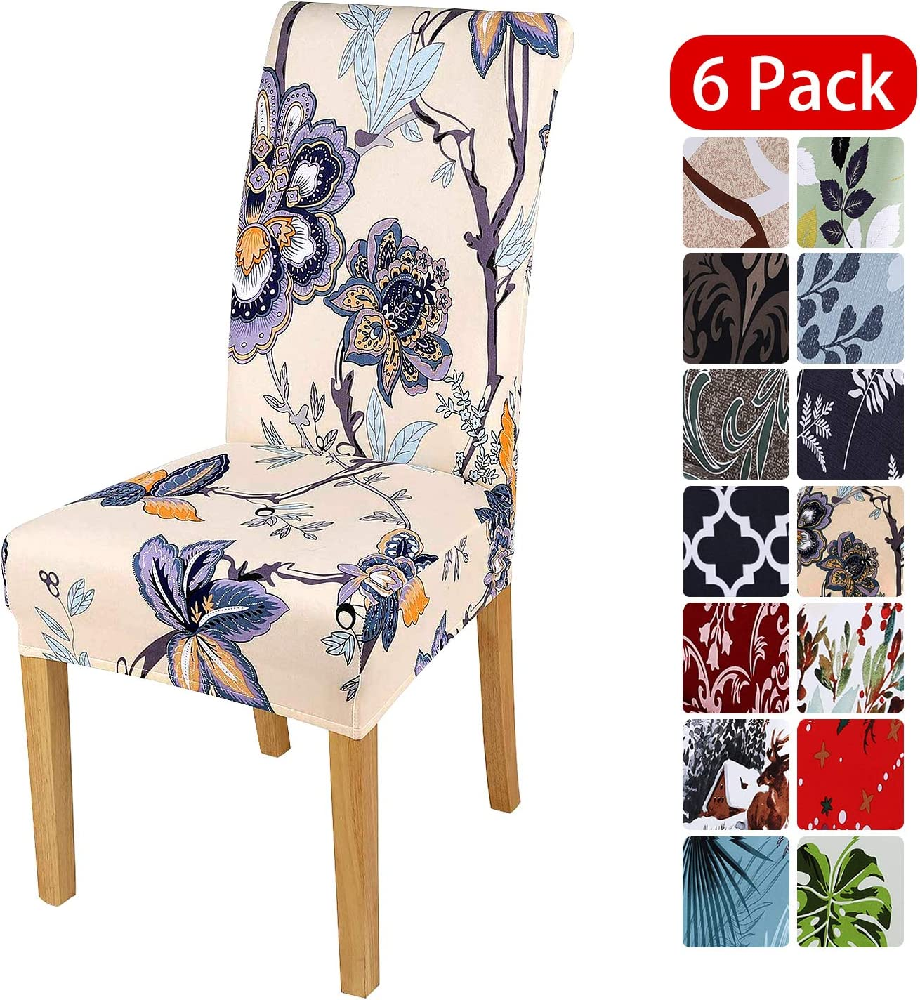 smiry Stretch Printed Dining Chair Covers, Spandex Removable Washable Dining Chair Protector Slipcovers for Home, Kitchen, Party, Restaurant - Set of 6, Beige