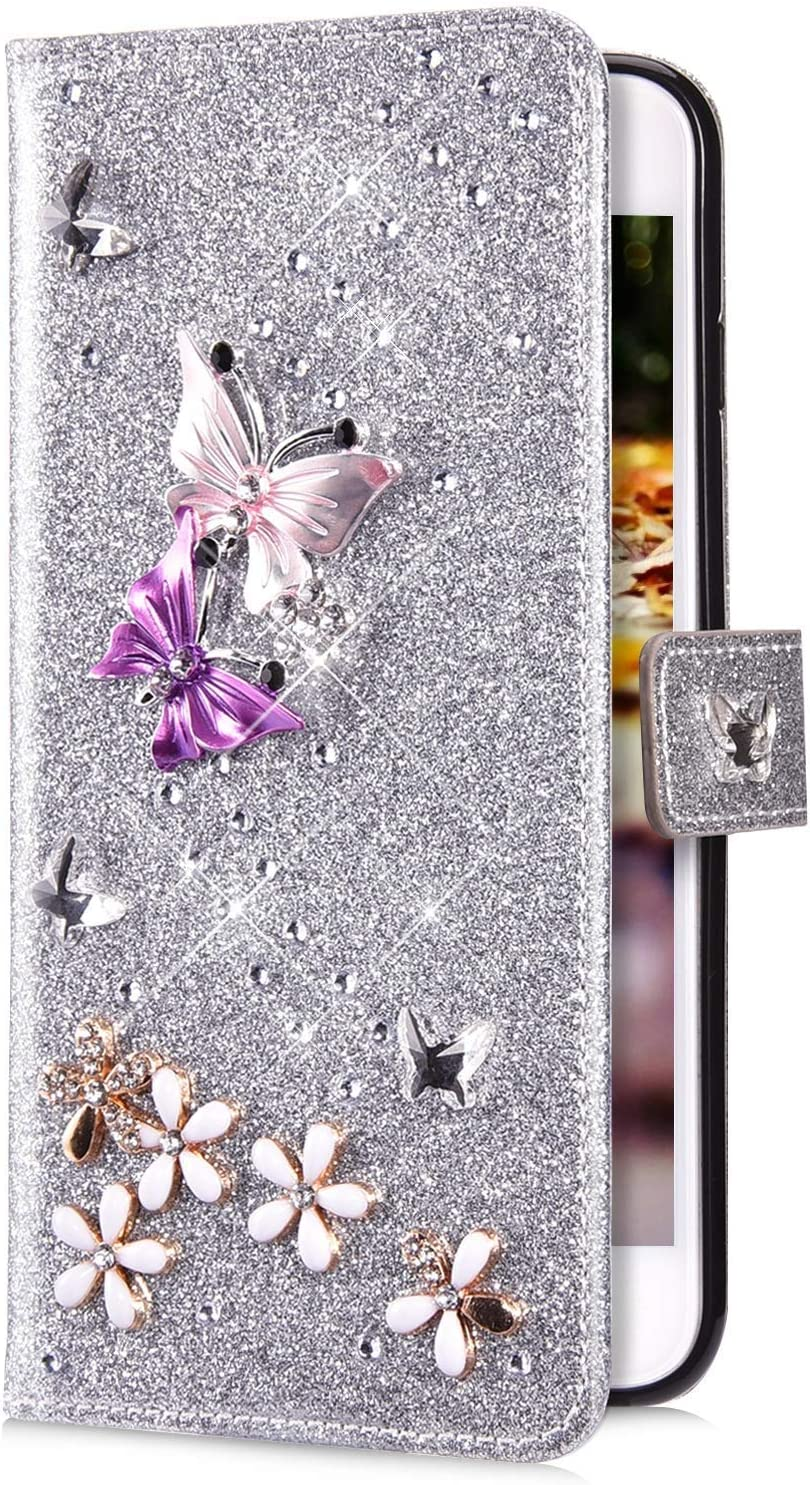 IKASEFU Compatible with Samsung Galaxy Note 8 Case Glitter Shiny butterfly Rhinestone Floral Leather Diamond Flash Bling Wallet Strap Case with Card Holder Magnetic Kickstand Flip Cover Case,Purple