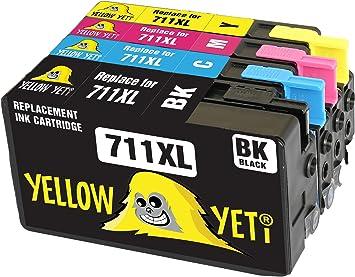 Yellow Yeti Reemplazo para HP 711 711XL Cartuchos de Tinta compatibles con HP DesignJet T120 T520 (1 Negro + 1 Cian + 1 Magenta + 1 Amarillo): Amazon.es: Electrónica