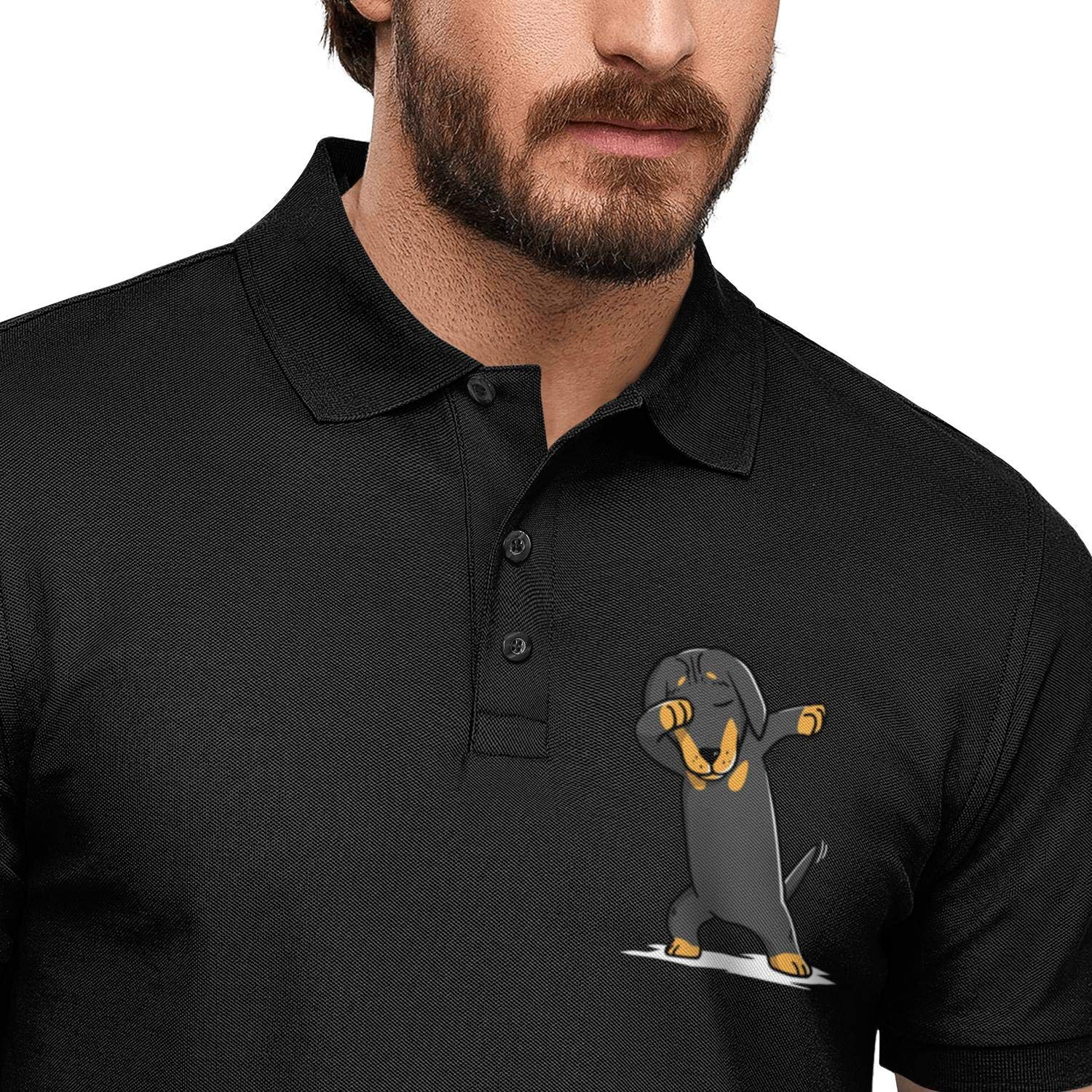 WYFEN Men Printed Polo Shirt Dabbing Dachshund Dog Dancing Funny Short Sleeve Tee