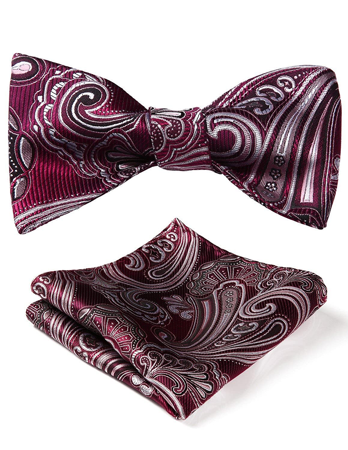 1920s Bow Ties | Gatsby Tie,  Art Deco Tie HISDERN Mens Paisley Jacquard Wedding Party Self Bow Tie Pocket Square Set £7.99 AT vintagedancer.com