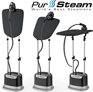 Professional Series Garment Steamer for Clothes Dual-Pro Iron & Pressurized with Heavy Duty 1800 Watt Power and a Large Water Tank, Built-in Ironing Board and Deluxe Garment Hanger
