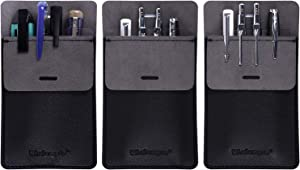 Wisdompro Pocket Protector, 3 Pack PU Leather Heavy Duty Pen Holder Pouch for Shirts, Lab Coats, Pants - Multi-Purpose - Holds Pens, Pointers, Pencils, and Notes - Black