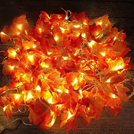 Autumn decor Artifical leaves on led string lights Fall decoration