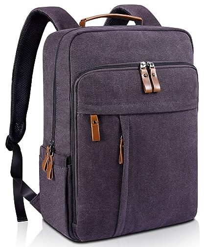 Estarer Sac à Dos Ordinateur Portable 15.6 Pouces en Toile Vintage Sac Homme  Business Backpack pour afc3bc6668e