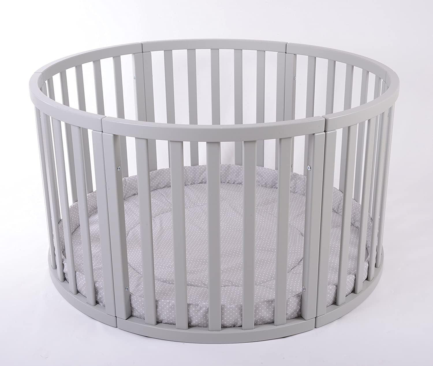 MJmark Round PLAYPEN APOLLO QUATTRO VERY LARGE Wooden playpen with play-mat in Grey with white Polk Dots SALE SALE