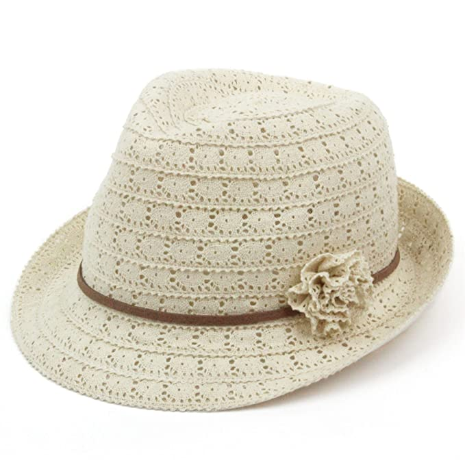 93c088acf2b82a Ladies trilby hat lace flower faux leather band sun summer: Amazon ...