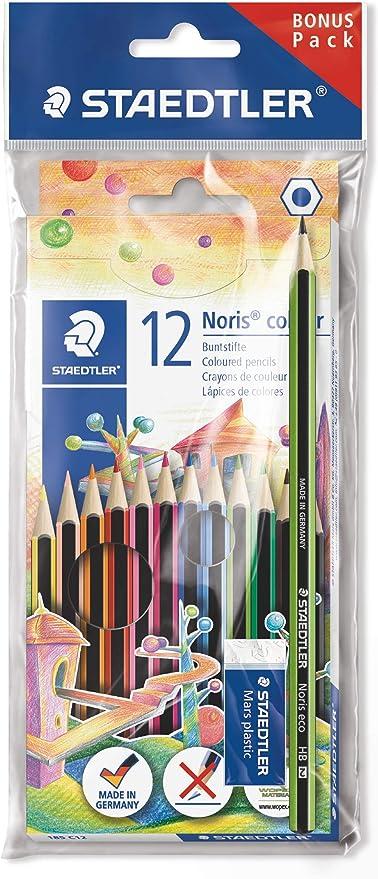 Staedtler Noris 185 SET1 - Lápices de colores ecológicos, caja con 12 lápices y una goma de borrar: Amazon.es: Oficina y papelería
