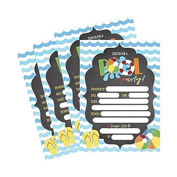 amazon com 50 blue summer swim pool party invitations for children