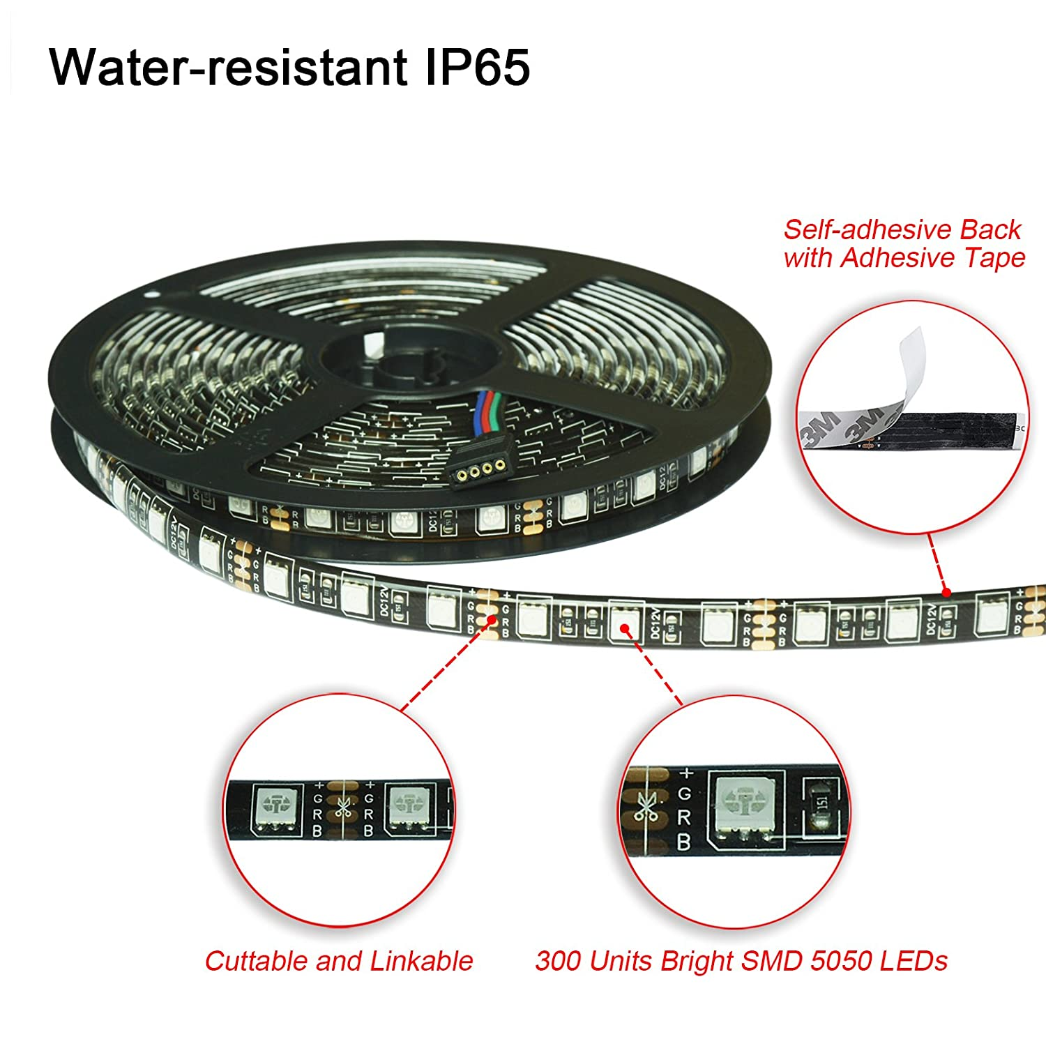 Wesiri Led Light Strip Kit 5050 Rgb 164ft 5m Dancing Leds Pcb Diagram 300 With 44key Remote Controller And 12v 5a Power Supply For Decorative Lighting
