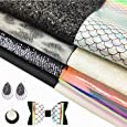 AOUXSEEM 8 Pcs A4 Size Mixed Faux Leather Sheets Bundles for Earrings Bows Handbags Purses Jewelry Making, Various Embossed Litchi Pattern Chunky Glitter Printed Synthetic Fabric,21x30cm (Black&White)