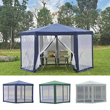Hexagonal Patio Gazebo Outdoor Canopy Party Tent Activity Event W/ Mosquito  Net Blue Mesh Tent