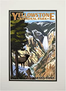 product image for Yellowstone National Park, Wyoming - Artist Point and Elk (11x14 Double-Matted Art Print, Wall Decor Ready to Frame)