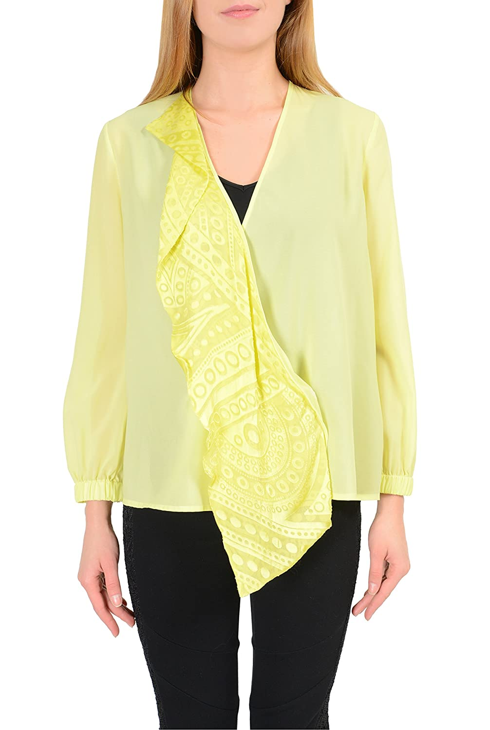 Just Cavalli Yellow Long Sleeves See Through Women's Wrapped Blouse US S IT 40