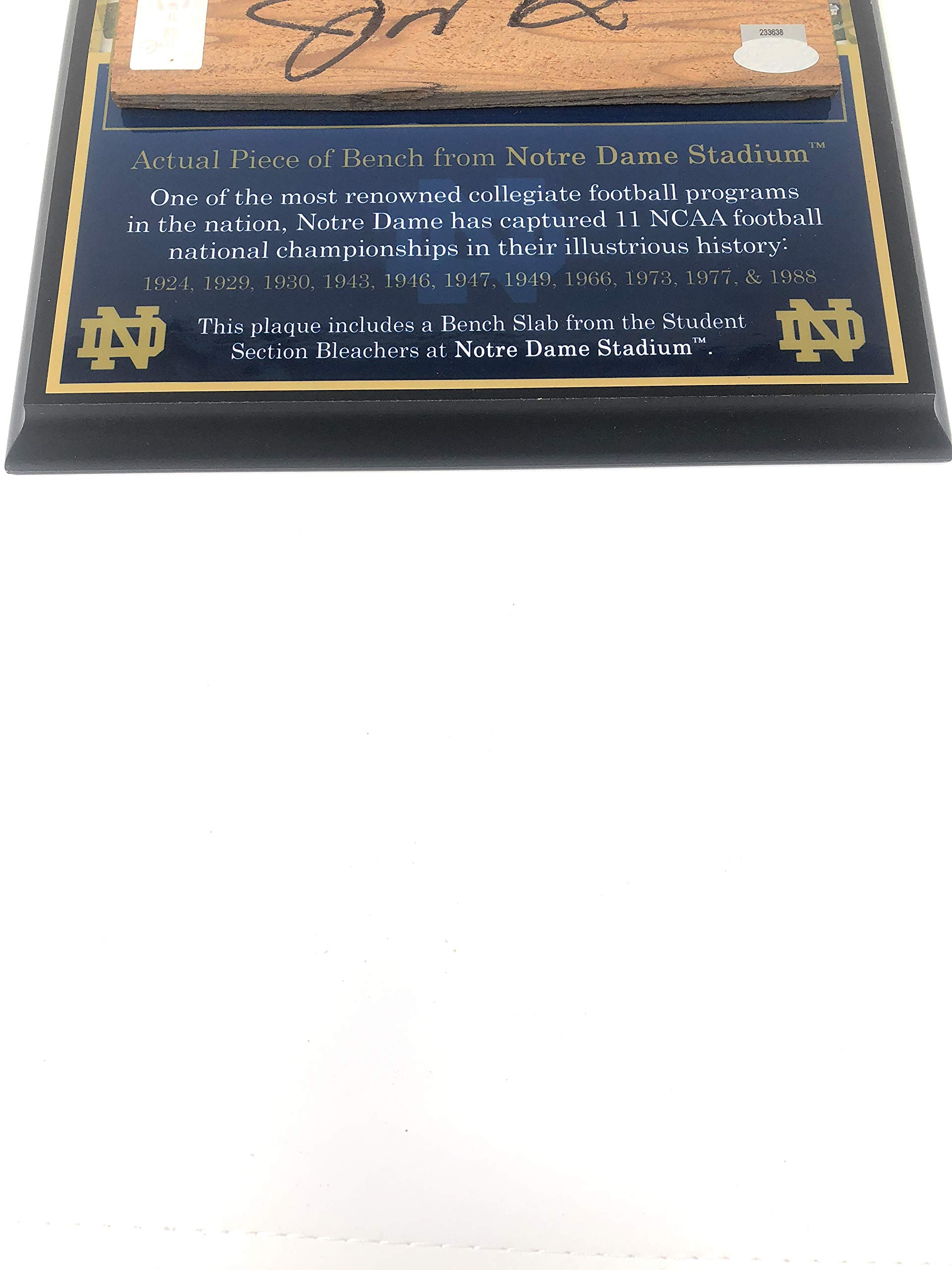 Joe Montana Notre Dame FIghting Irish Signed Autograph Game Used Bench Slab Notre Dame Stadium GTSM Montana Player Hologram Certified