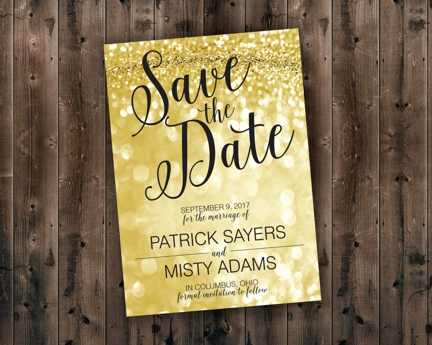 Glitter Heart Printable Save the Date Confetti Dots Glitter Stars Sparkle Silver and Gold Save the Date Custom Color Save the Date