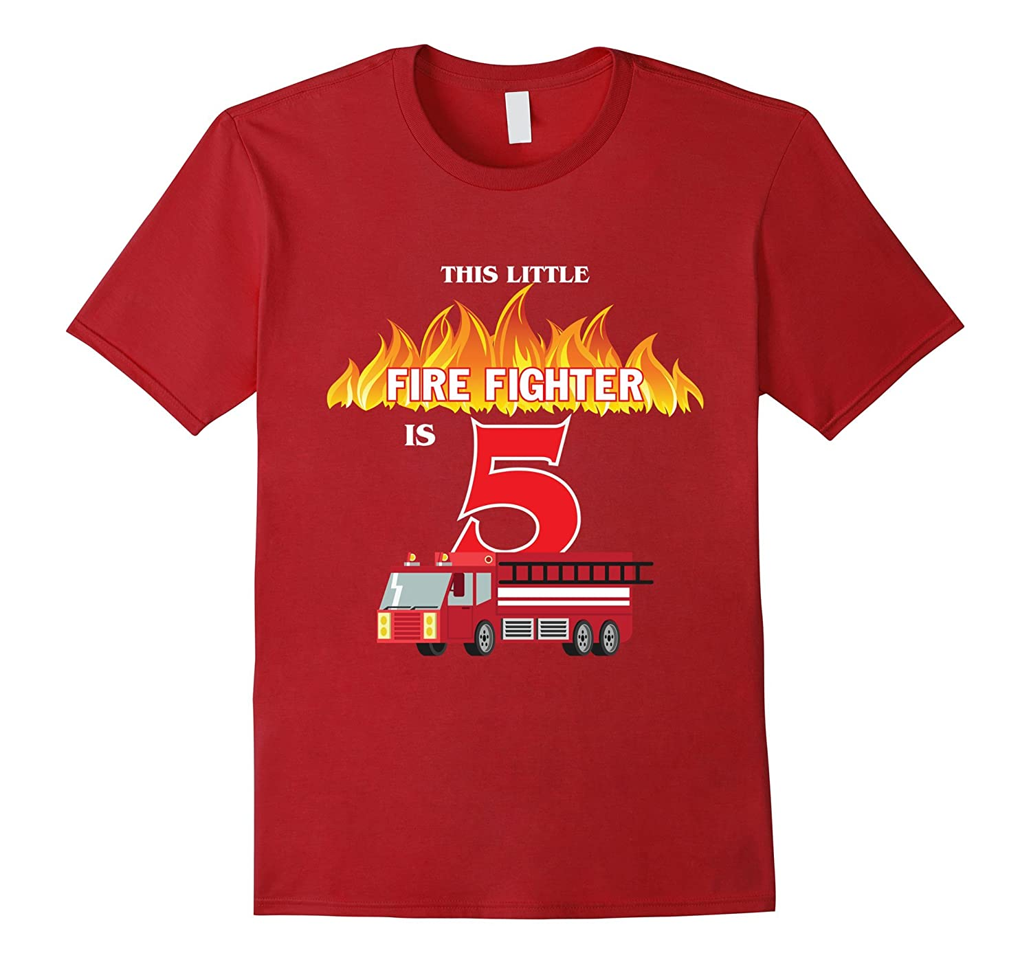 5th Birthday Boys Firefighter Fireman T-Shirt For Kids-TH