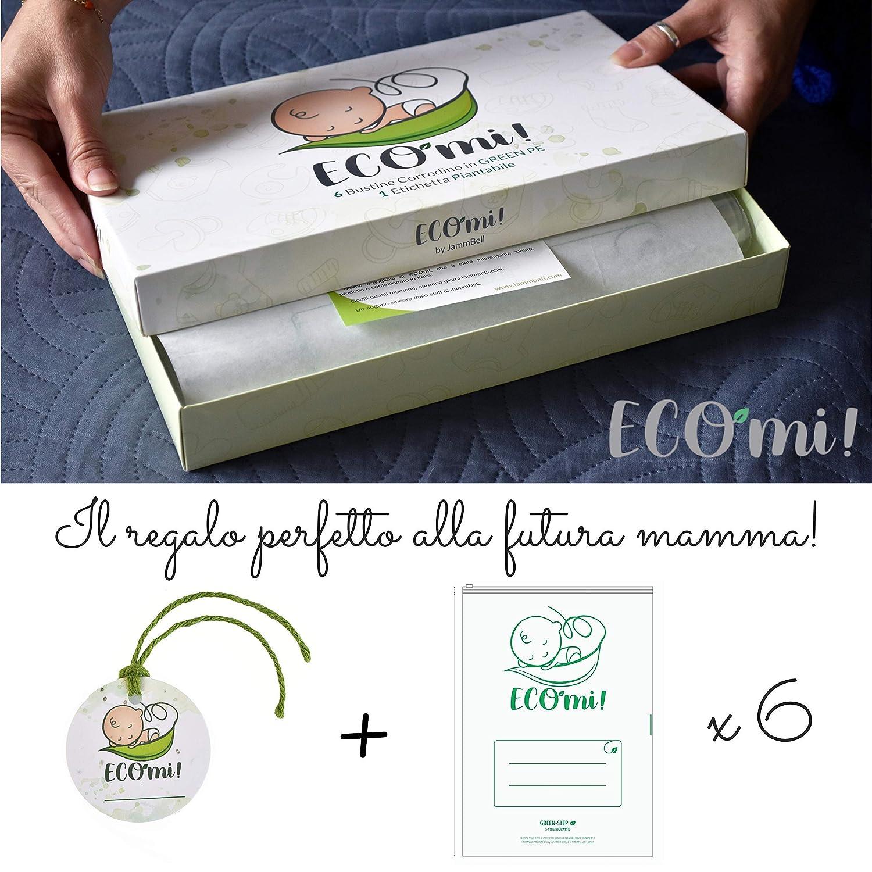 100 /% Made in Italy pflanzliche Etiketten 2020 f/ür die Geburt Geschenkidee f/ür den Erstwechsel JammBell/® 6 Beutel f/ür Neugeborene im Krankenhaus transparente T/üten Kindergarten