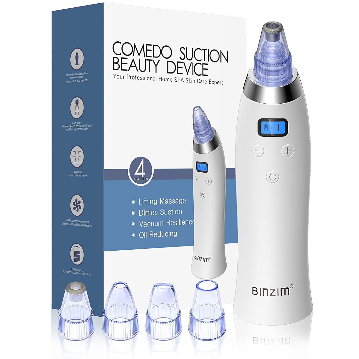 Blackhead Remover,Vacuum Blackhead Suction USB Rechargeable Extractor Tool with 4 Multi-Functional Probe, BINZIM Microdermabrasion Comedone Machine for Acne and Facial Pore Clean