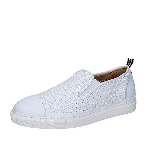 Brimarts - Mocasines de Piel para hombre Blanco Size: 40: Amazon.es: Zapatos y complementos