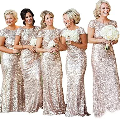 Special Bridal Women Sequins Prom Bridesmaid Dress Glitter Rose Gold Long Evening Gowns Formal Amazon Co Uk Clothing