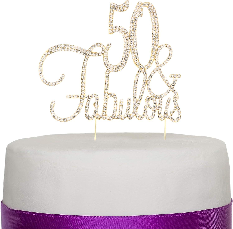 Ella Celebration 50 & Fabulous Cake Topper for 50th Birthday Party Decoration Supplies (Cursive Gold)