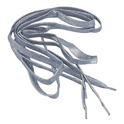 Gleader Lacci delle scarpe 47  quot glitter PIATTO COLORATO SPORT DANZA  FANCY DRESS-argento 9cc95ce8847