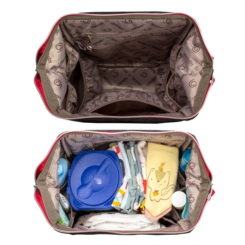 Lekebaby Bolsos cambiadores con cambiador para viajar y uso diario, Negro: Amazon.es: Bebé