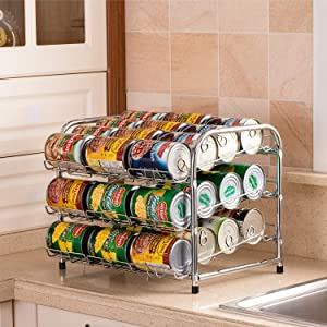 FlagShip Pantry Food Can Rack Organizer, 3-Tier Stackable Soup Vegetable Canned Food Dispenser Organizers Storage, Pantry Can Food Holders Metal (36 Cans Chrome)