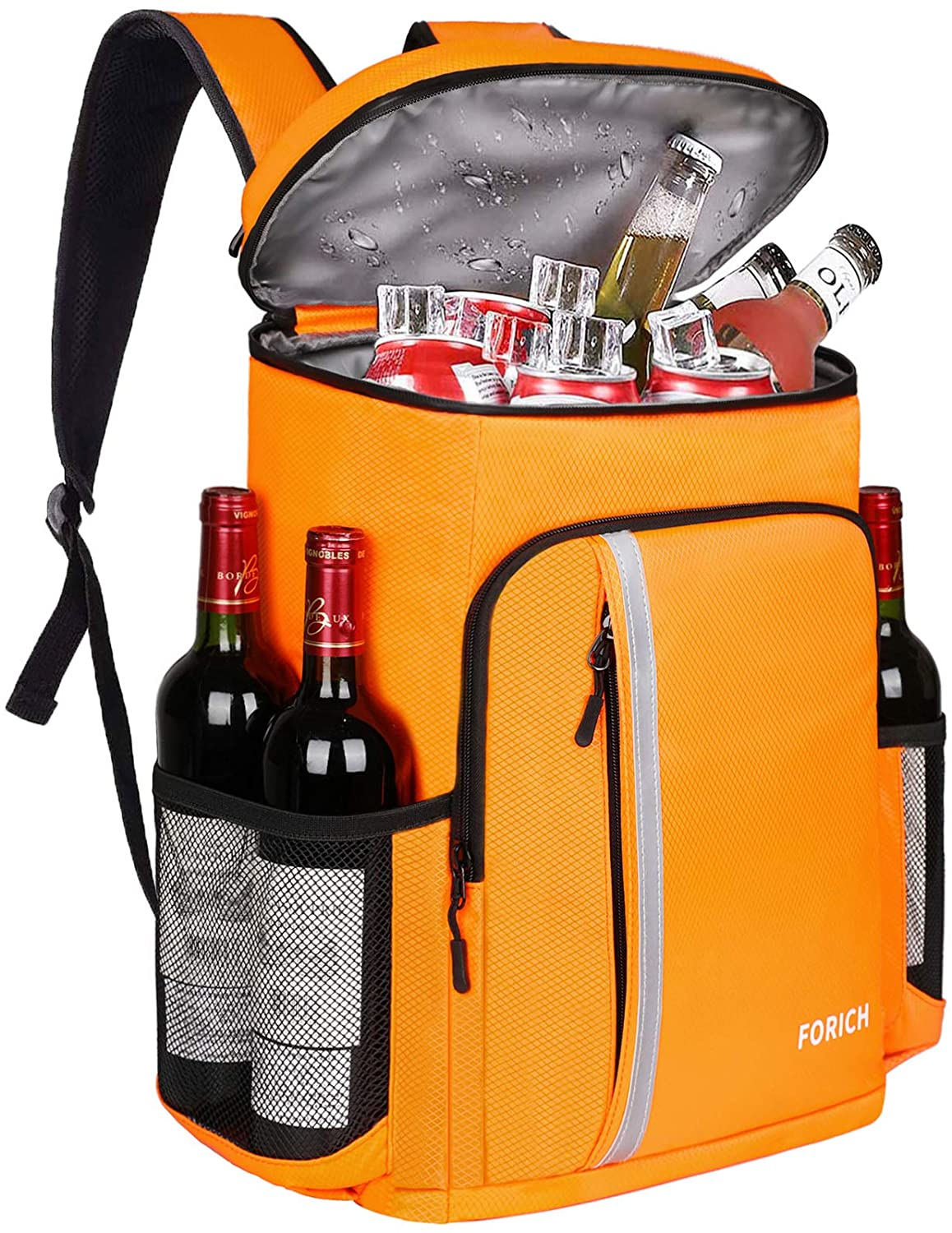 FORICH Backpack Cooler Leakproof Insulated Waterproof Backpack Cooler Bag, Lightweight Soft Beach Cooler Backpack for Men Women to Work Lunch Picnics Camping Hiking, 30 Cans (Orange) : Sports & Outdoors