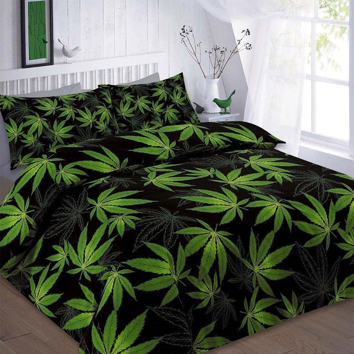Islander Fashions Cannabis Marijuana Weed Feuille Imprim� Simple Double King Size Duvet Taie doreiller Ensemble de Literie Noir Double Taille