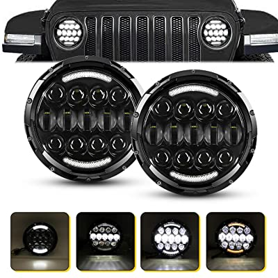7 inch Round LED Headlights, AAIWA 105W LED Headlight for Jeep, White DRL Amber Turn Signal Light for Jeep Wrangler JK TJ LJ CJ JKU Unlimited Rubicon Sahara: Automotive