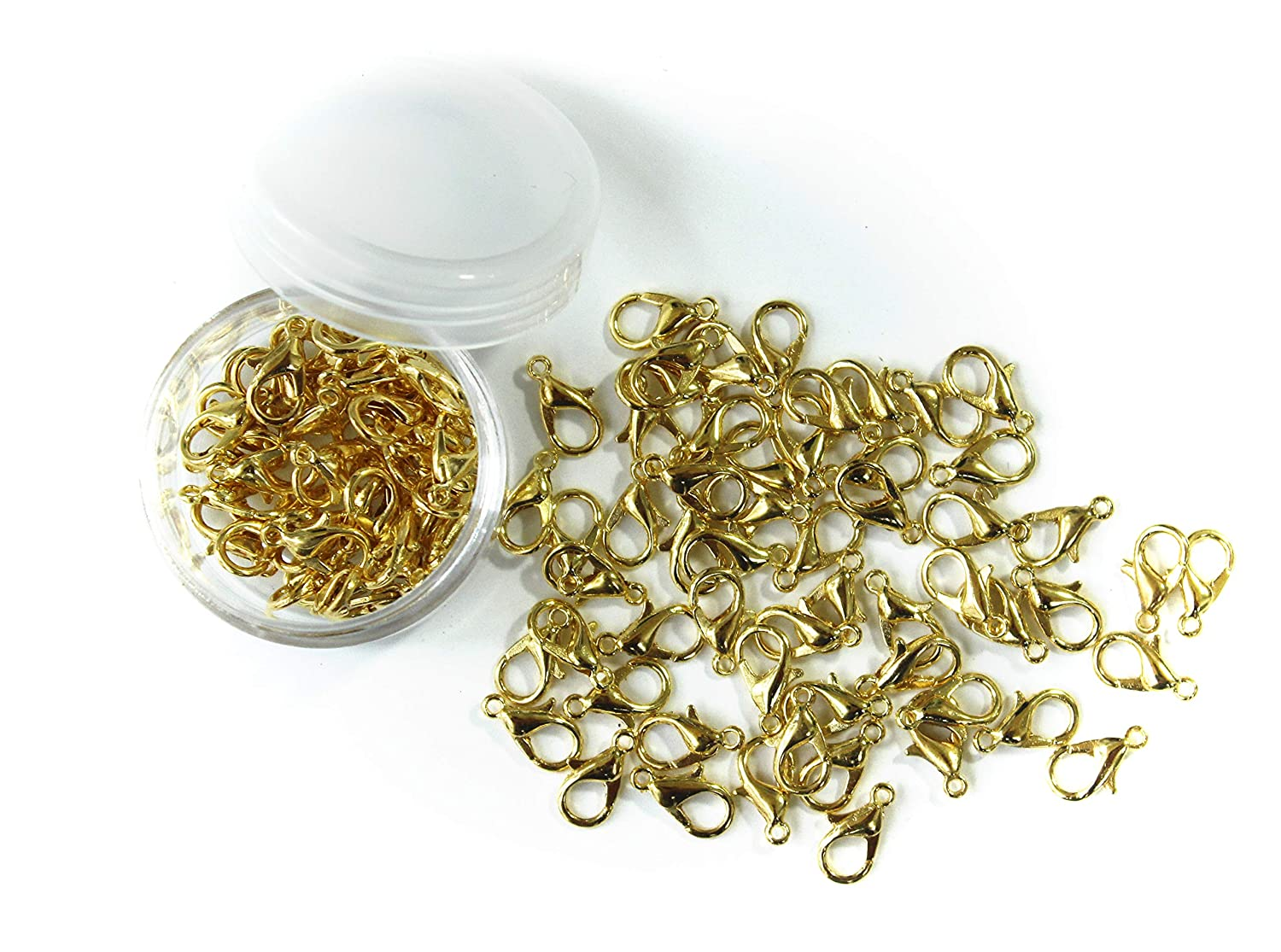 ALL in ONE 12x6mm 30g/100pcs Gold Plated Lobster Claw Clasps with 15 Gram Storage Box (Gold)