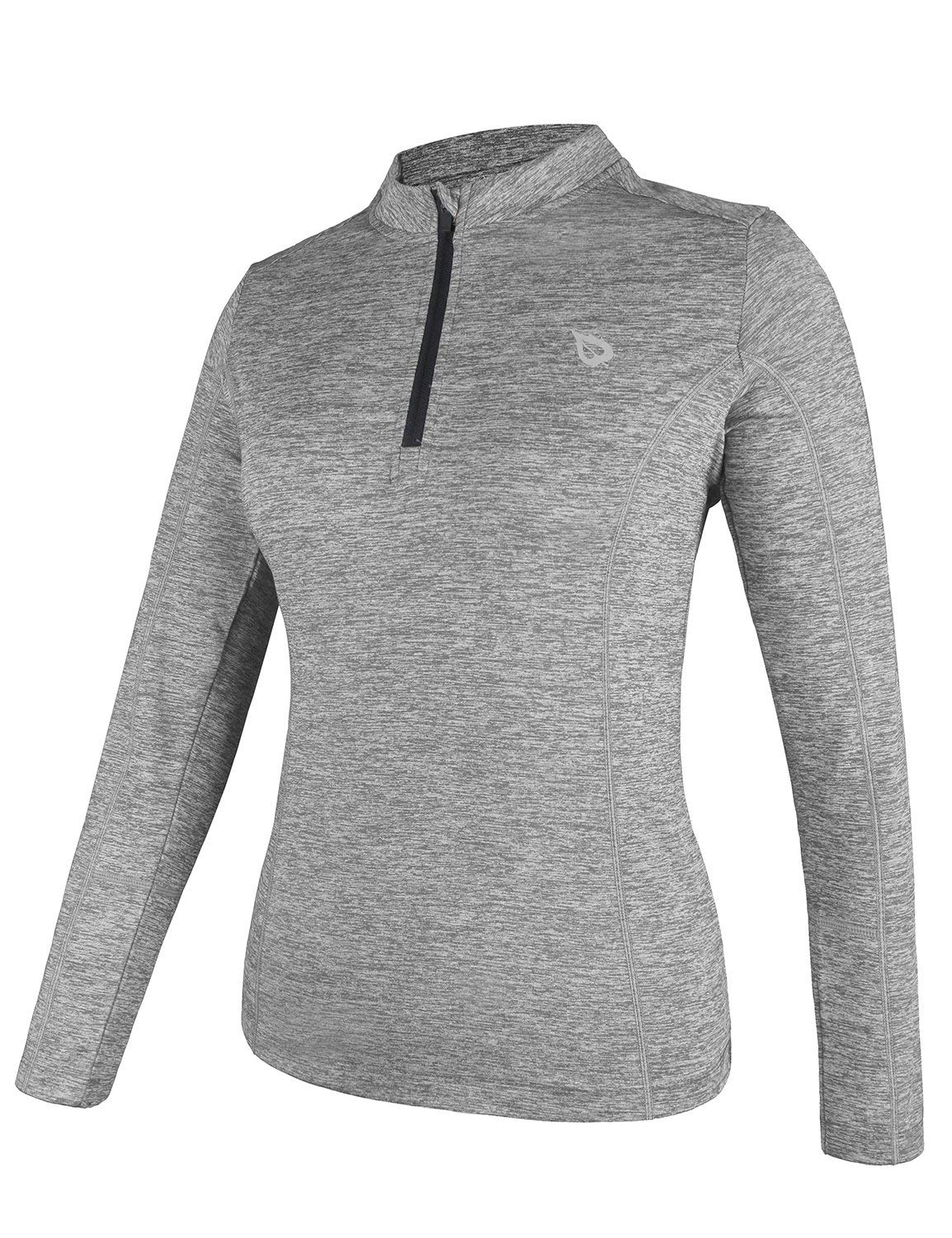 BALEAF Women's Thermal Running Shirts Long Sleeve 1/4 Zip Pullover Grey S by BALEAF