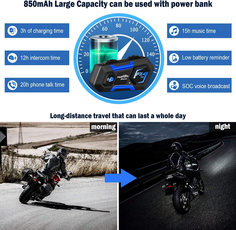 850mAh Motorbike Motorcycle helmet intercom Headset con FM 2pack 4 Motociclisti Interfono Bluetooth per Moto Fodsports FX4 PRO Moto Intercom Bluetooth con Funzione di riduzione del Rumore