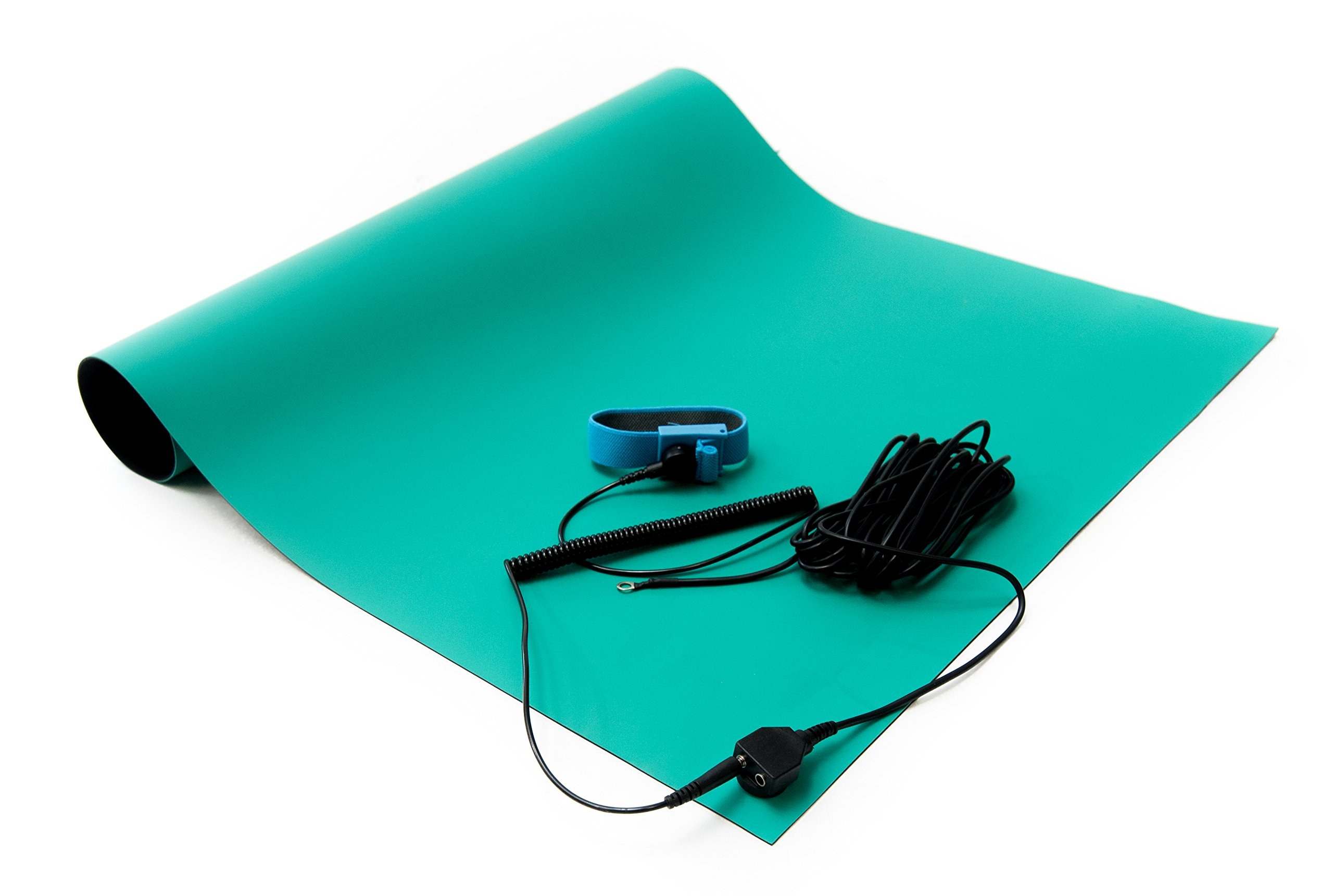 Bertech Rubber ESD Soldering Mat Kit with a Wrist Strap and Grounding Cord, 2' Wide x 4' Long, Green