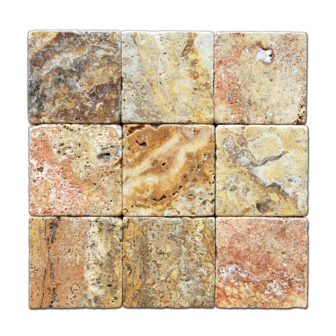 Scabos Travertine 4 X 4 Tile, Tumbled - Box of 5 sq. ft.