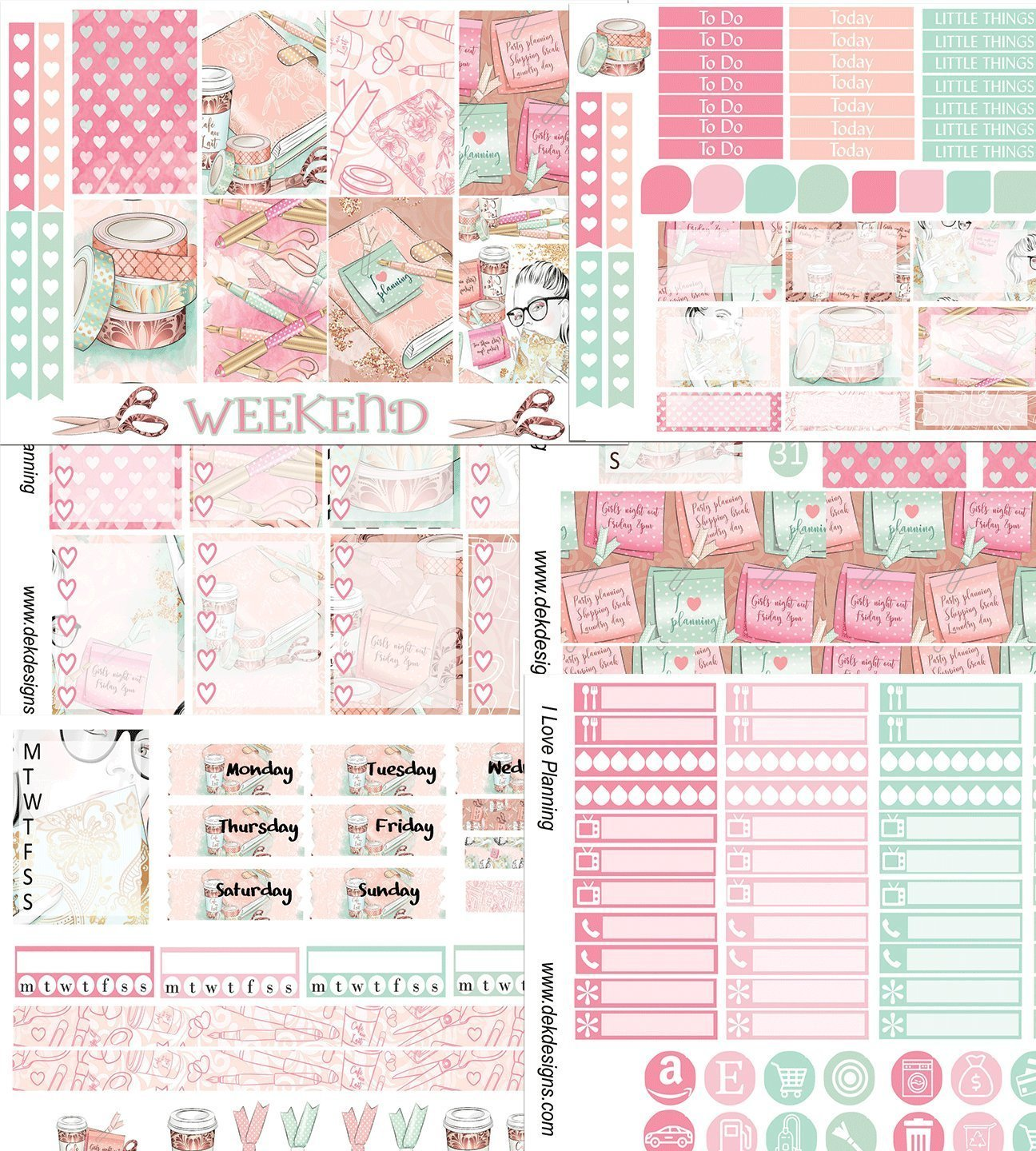 I Love Planning, Weekly sticker kit. 6 sheets on matte sticker paper. Choose your size from Erin Condren to Happy Planner. Kiss cut, just peel and stick.