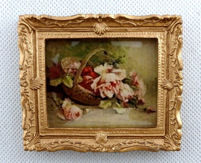 Melody Jane Maison de poupées PANIER DE ROSES IMAGE peinture cadre doré accessoire miniature Carl Schmieder