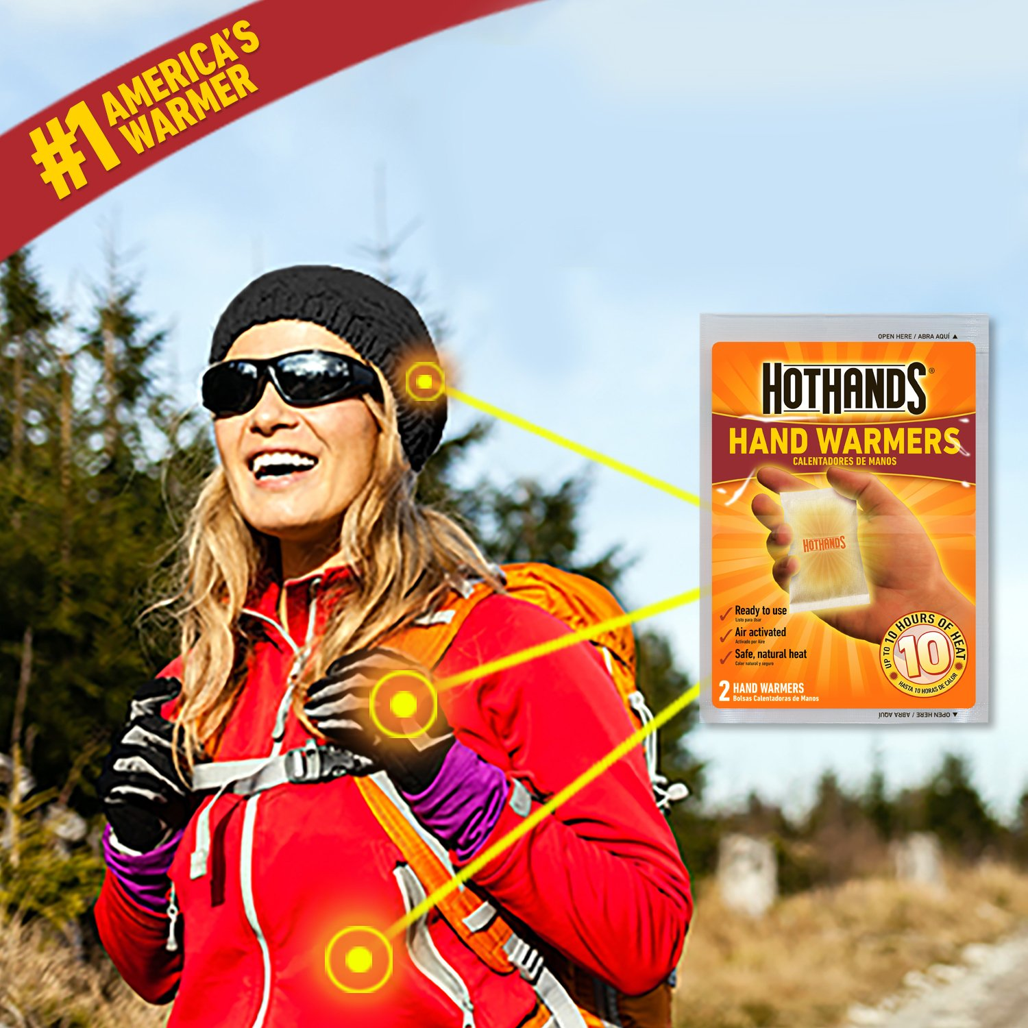 Up to 10 Hours of Heat HotHands Hand Warmers Long Lasting Safe Natural Odorless Air Activated Warmers 20 Pair Value Pack