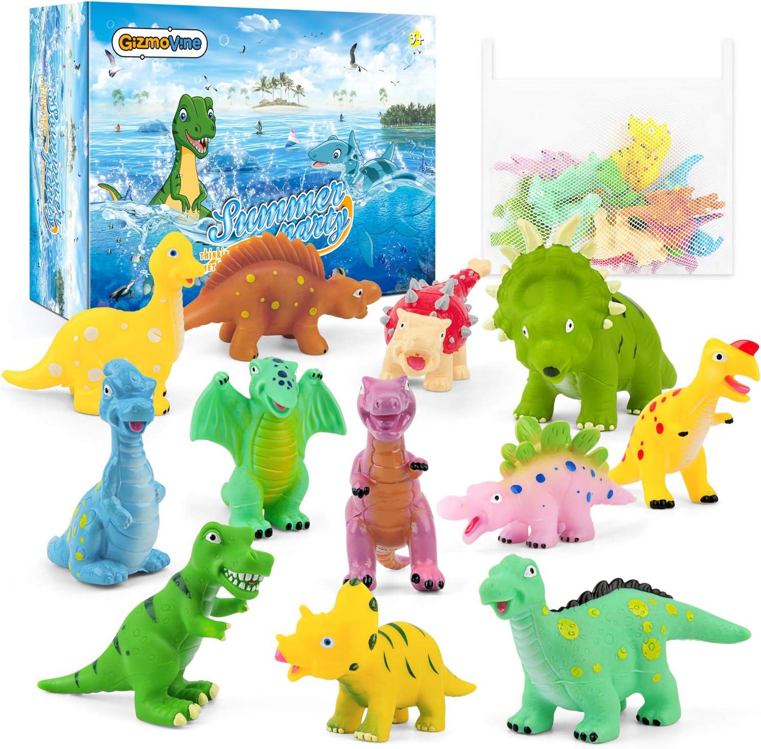 GizmoVine Juguete de Baño Juguetes Animales de Dinosaurios, Educativo Realista Dinosaurio Acción Figuras Baño Bebes Caja de Regalos y Bolsa Organizadora de Cumpleanos para Niños Niñas.