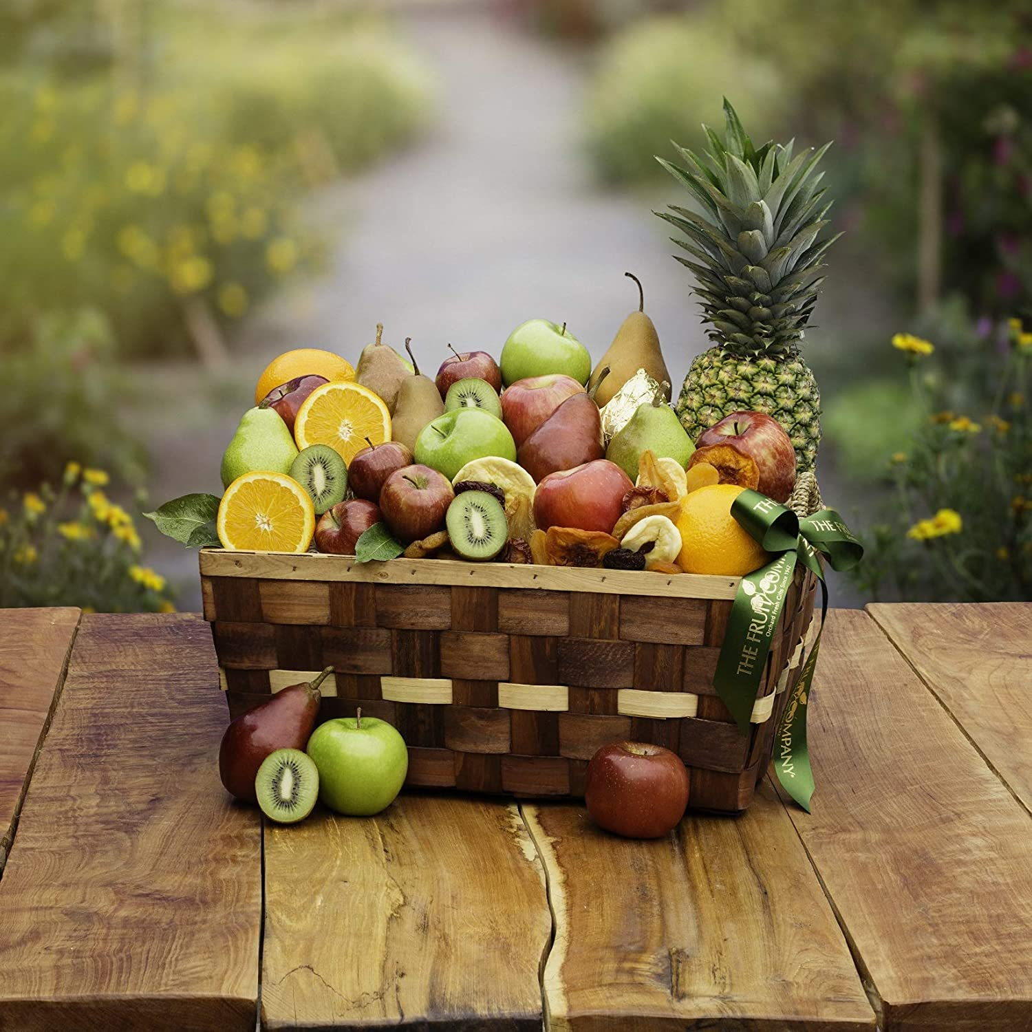 The Fruit Company Organic Festival of Fruit Basket- 25 pieces of USDA Certified Premium Fresh Apples, Pears, Oranges,and Pineapple with a Dried Fruit Medley