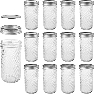 Nicunom 12 Pack Mason Jars with Regular Lids, 12 OZ Glass Canning Jars Jelly Jars for Honey, Jam, Shower Favors, Baby Foods, Wedding Favors