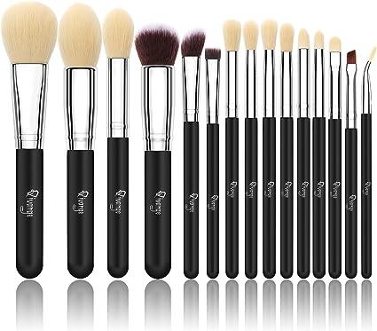 Qivange Brochas de Maquillaje de Cosméticos Sintéticos Grupo de Brochas con Bolsa de Cosmética(15pcs, Plata Negra): Amazon.es: Belleza