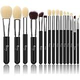 Qivange Pinceaux de maquillage synthétique Kit de brosse cosmétiques avec sac cosmétique (15pcs, noir argent)