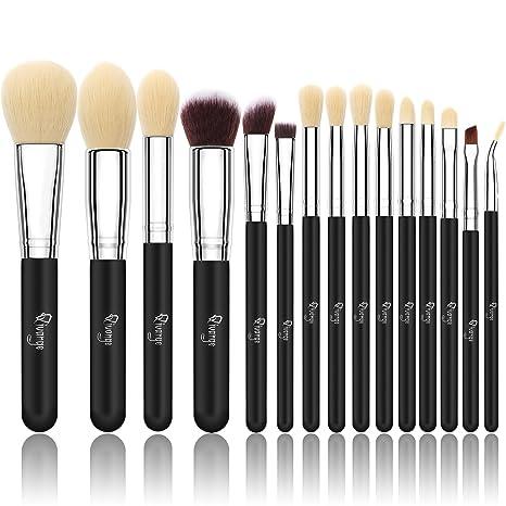 Qivange Brochas de Maquillaje de Cosméticos Sintéticos Grupo de Brochas con Bolsa de Cosmética(15pcs, Plata Negra)