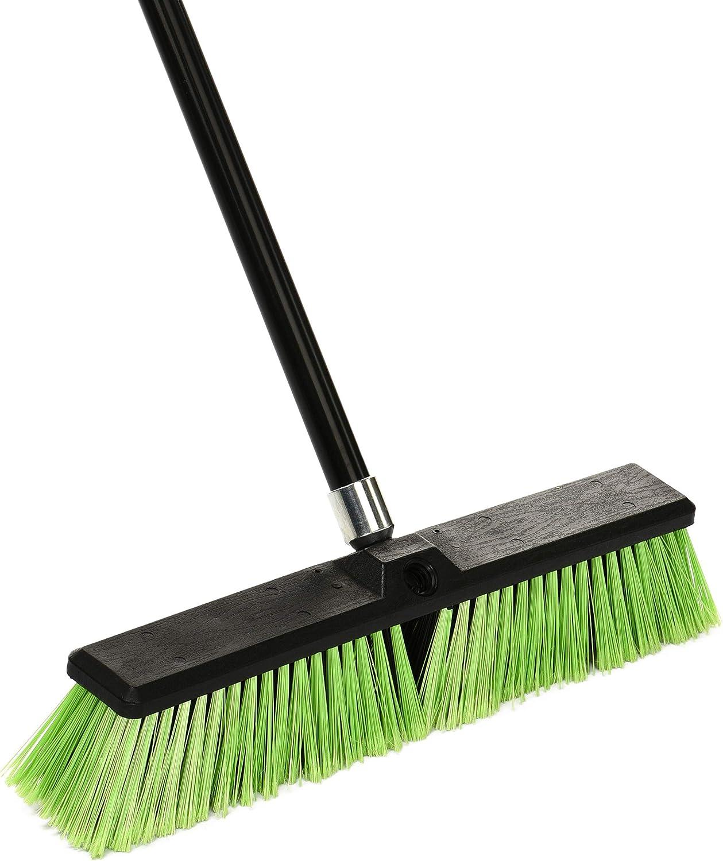Alpine Industries Push Broom Heavy Duty Smooth Surface Broom Deck Scrubber Long Handle Commercial Floor Scrub Broom Cleans Dirt, Debris, Sand, Mud, Leaves and Water (Green, 18 in): Industrial & Scientific