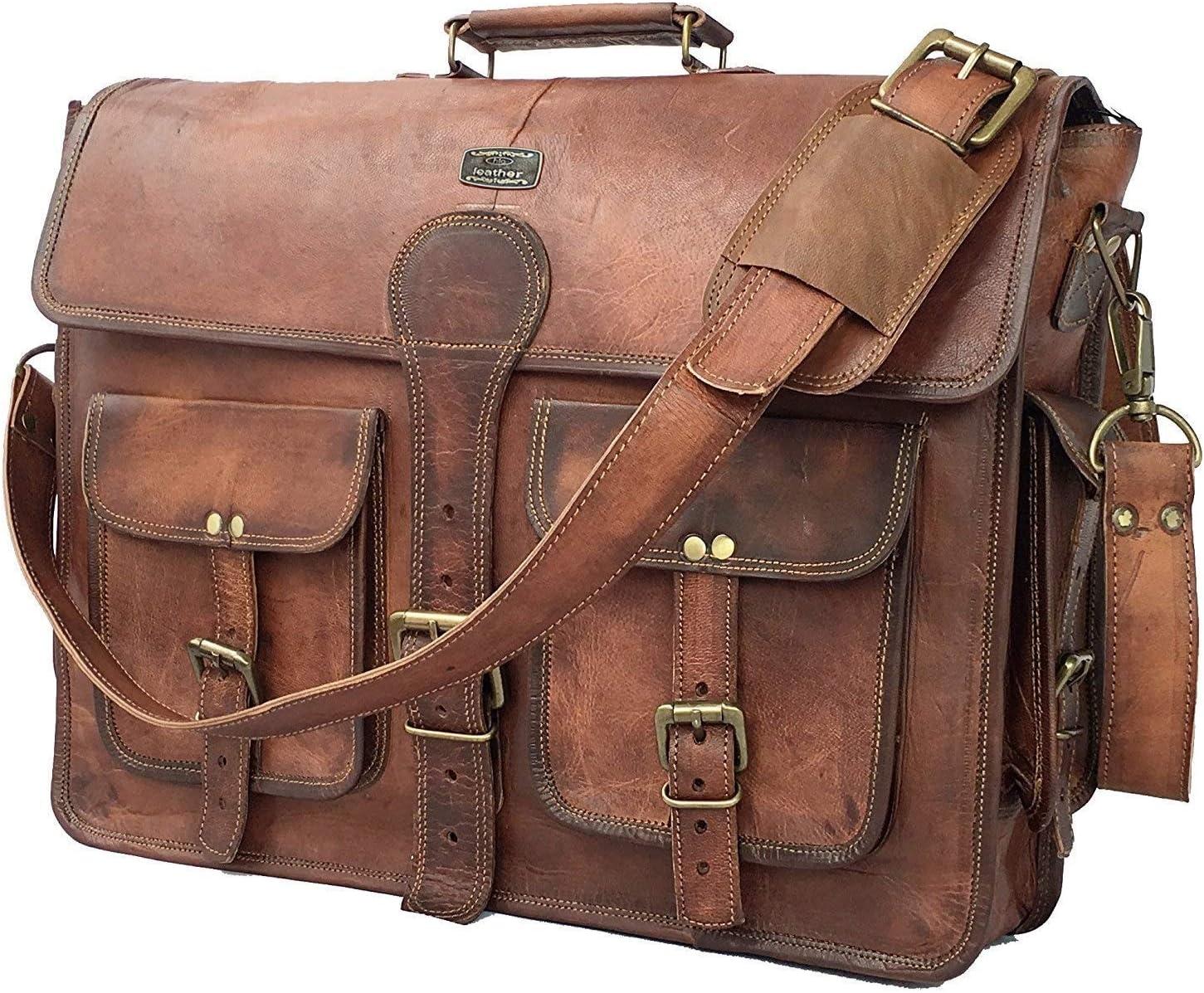 DHK 18inch Vintage hecho a mano maletín Messenger–Bolso para portátiles de piel mejor ordenador satchel escuela bolsa de envejecido